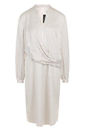 Шелковое платье-миди в полоску | Фото №1