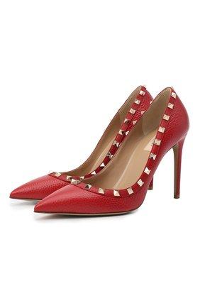 Женская кожаные туфли valentino garavani rockstud VALENTINO красного цвета, арт. PW2S0057/VCE | Фото 1
