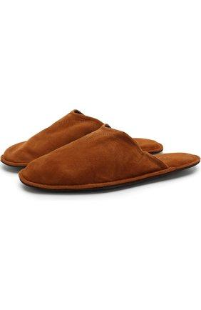 Домашние туфли из замши Homers At Home коричневые | Фото №1