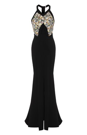 Приталенное платье-макси с подолом Roland Mouret черное | Фото №1