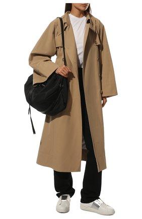 Женские кожаные кеды valentino garavani open с контрастной вставкой VALENTINO серебряного цвета, арт. PW2S0781/FLR   Фото 2