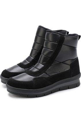 Утепленные сапоги на молнии с замшевой отделкой Jog Dog черные | Фото №1