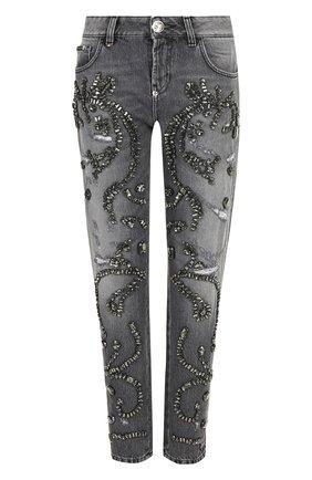 Укороченные джинсы прямого кроя с декоративной отделкой | Фото №1