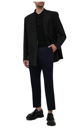 Мужской хлопковые брюки GUCCI синего цвета, арт. 468518/Z3732 | Фото 2