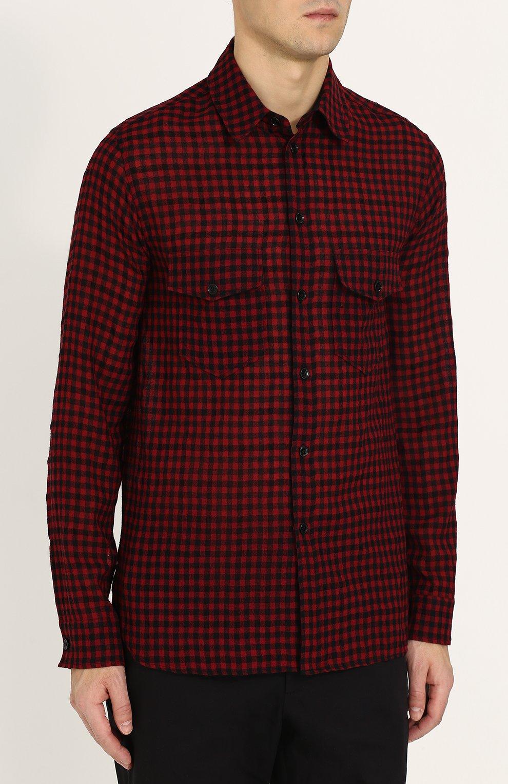 8ac061330c7 Мужская бордовая шерстяная рубашка в клетку GUCCI — купить за 49950 ...