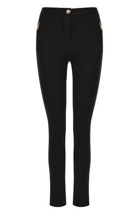 Однотонные брюки-скинни с контрастными молниями | Фото №1