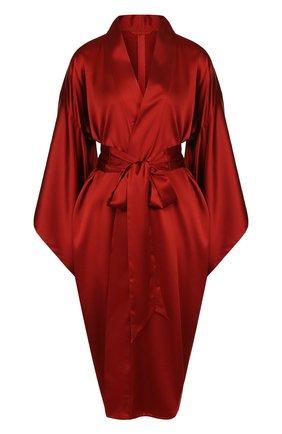 Однотонный шелковый халат с широким поясом | Фото №1