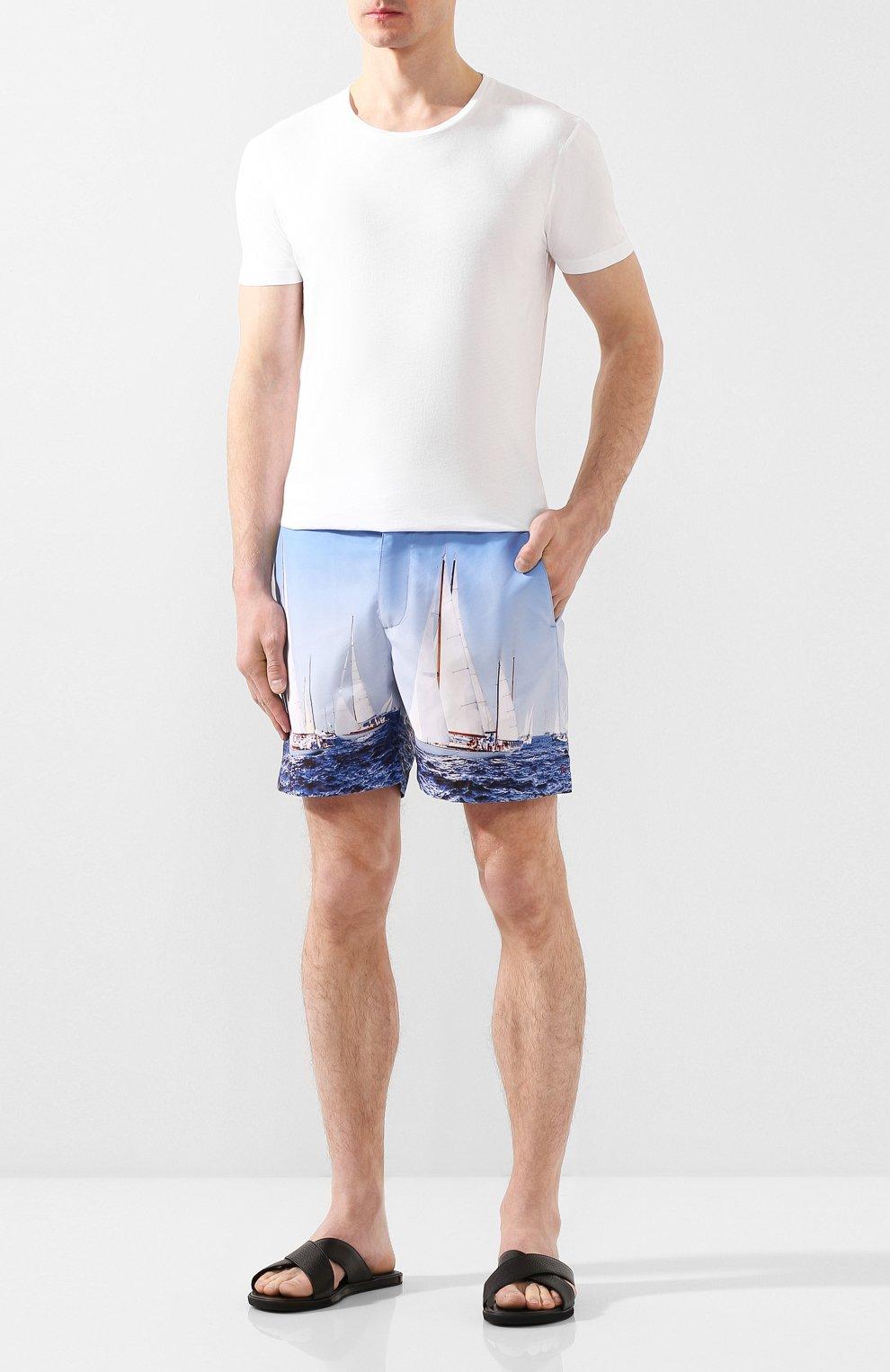 Мужская хлопковая футболка ORLEBAR BROWN белого цвета, арт. 259516 | Фото 2 (Рукава: Короткие; Длина (для топов): Стандартные; Материал внешний: Хлопок; Мужское Кросс-КТ: Футболка-белье)