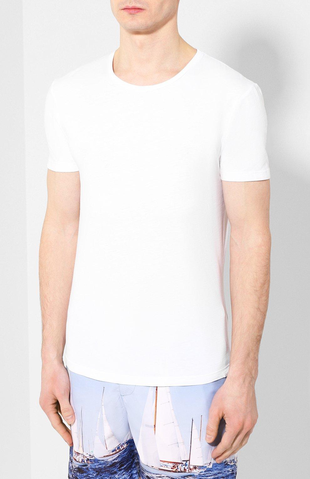 Мужская хлопковая футболка ORLEBAR BROWN белого цвета, арт. 259516 | Фото 3 (Рукава: Короткие; Длина (для топов): Стандартные; Материал внешний: Хлопок; Мужское Кросс-КТ: Футболка-белье)