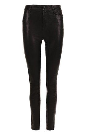 Женские однотонные кожаные брюки-скинни J BRAND черного цвета, арт. L23110/B | Фото 1
