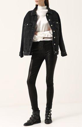 Женские однотонные кожаные брюки-скинни J BRAND черного цвета, арт. L23110/B | Фото 2