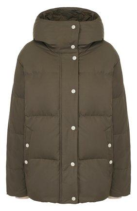 Однотонная стеганая куртка с капюшоном | Фото №1