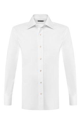 Мужская хлопковая сорочка с воротником кент TOM FORD белого цвета, арт. TFT000/94C1JE | Фото 1