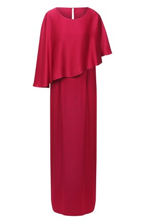 Однотонное платье-макси с кейпом | Фото №1