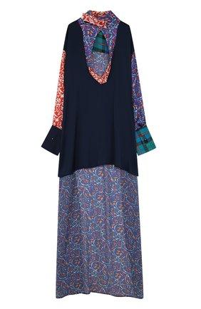 Блуза с удлиненной спинкой и воротником-стойкой | Фото №1