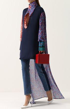 Женская блуза с удлиненной спинкой и воротником-стойкой Esteban Cortazar, цвет синий, арт. P7TU02/015119 BATTI в ЦУМ   Фото №1