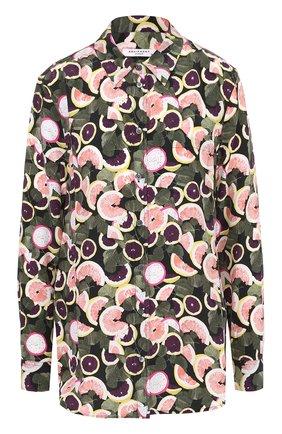 Женская шелковая блуза прямого кроя с принтом Equipment, цвет зеленый, арт. Q2860-E369 в ЦУМ | Фото №1