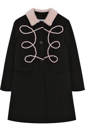 Пальто с фигурной вышивкой и отложным воротником   Фото №1