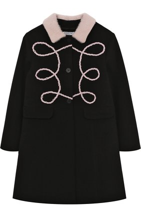 Пальто с фигурной вышивкой и отложным воротником Vivetta черного цвета | Фото №1