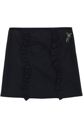 Мини-юбка с аппликацией и оборками | Фото №1