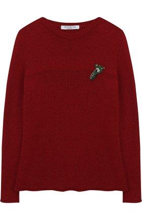 Детский вязаный свитер с аппликацией Vivetta красного цвета | Фото №1