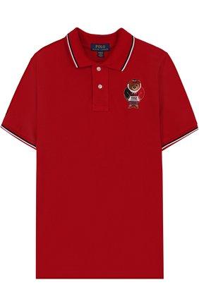 Детское хлопковое поло с вышивкой POLO RALPH LAUREN красного цвета, арт. 323694730 | Фото 1