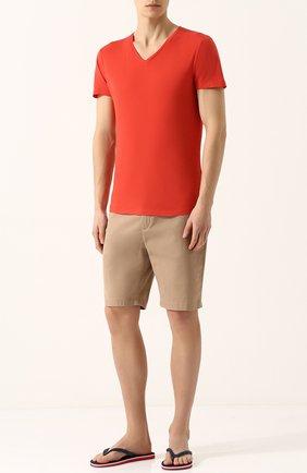 Хлопковая футболка с V-образным вырезом   Фото №2