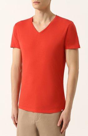 Хлопковая футболка с V-образным вырезом   Фото №3