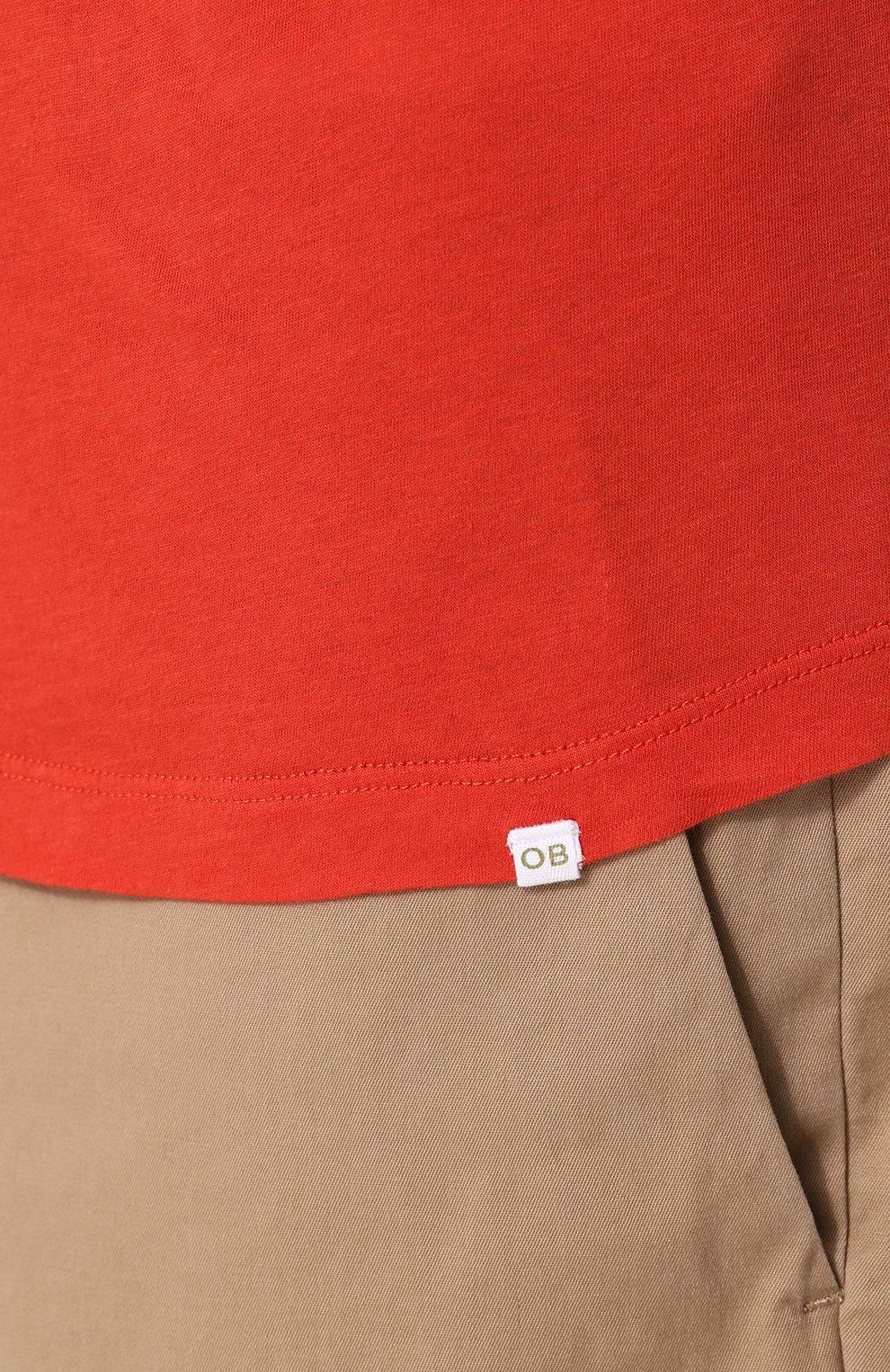 Хлопковая футболка с V-образным вырезом   Фото №5