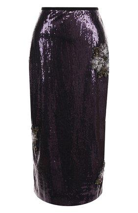 Юбка-миди с пайетками и декоративной отделкой Erdem фиолетовая | Фото №1