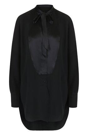 Шелковая блуза свободного кроя с воротником аскот | Фото №1