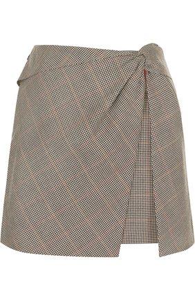 Шерстяная мини-юбка с драпировкой | Фото №1
