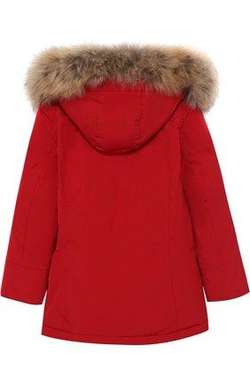 Пуховая парка с меховой отделкой на капюшоне Woolrich красного цвета | Фото №1