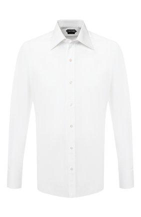 Мужская хлопковая сорочка с воротником кент TOM FORD белого цвета, арт. 3FT000/94S2JE | Фото 1