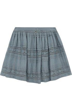 Мини-юбка свободного кроя с кружевной отделкой | Фото №1