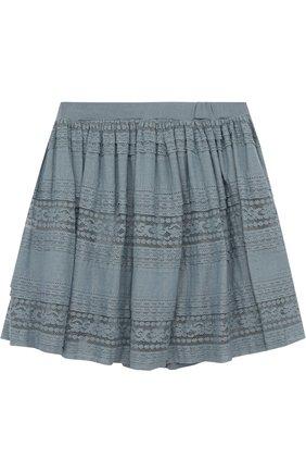 Мини-юбка свободного кроя с кружевной отделкой | Фото №2