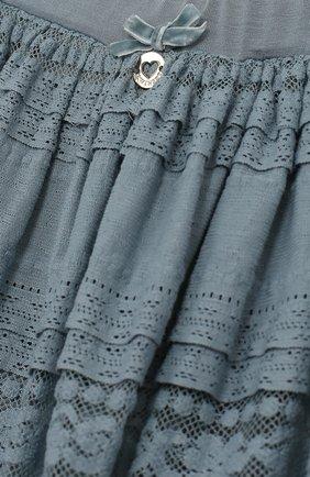 Мини-юбка свободного кроя с кружевной отделкой | Фото №3