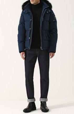 Утепленная куртка на молнии с меховой отделкой капюшона Moose Knuckles синяя | Фото №1