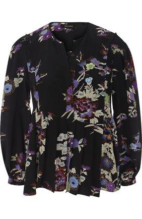 Женская шелковая блуза с принтом и укороченным рукавом Isabel Marant, цвет черный, арт. HT1059-17A038I/IVIA в ЦУМ   Фото №1