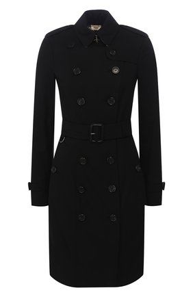 Женский хлопковый тренч sandringham BURBERRY черного цвета, арт. 3900545 | Фото 1