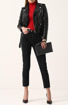 Укороченные джинсы с потертостями Agolde черные | Фото №1