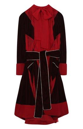 Приталенное платье-миди с воротником аскот Sacai красное | Фото №1