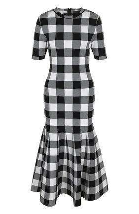 Приталенное платье-миди в клетку | Фото №1
