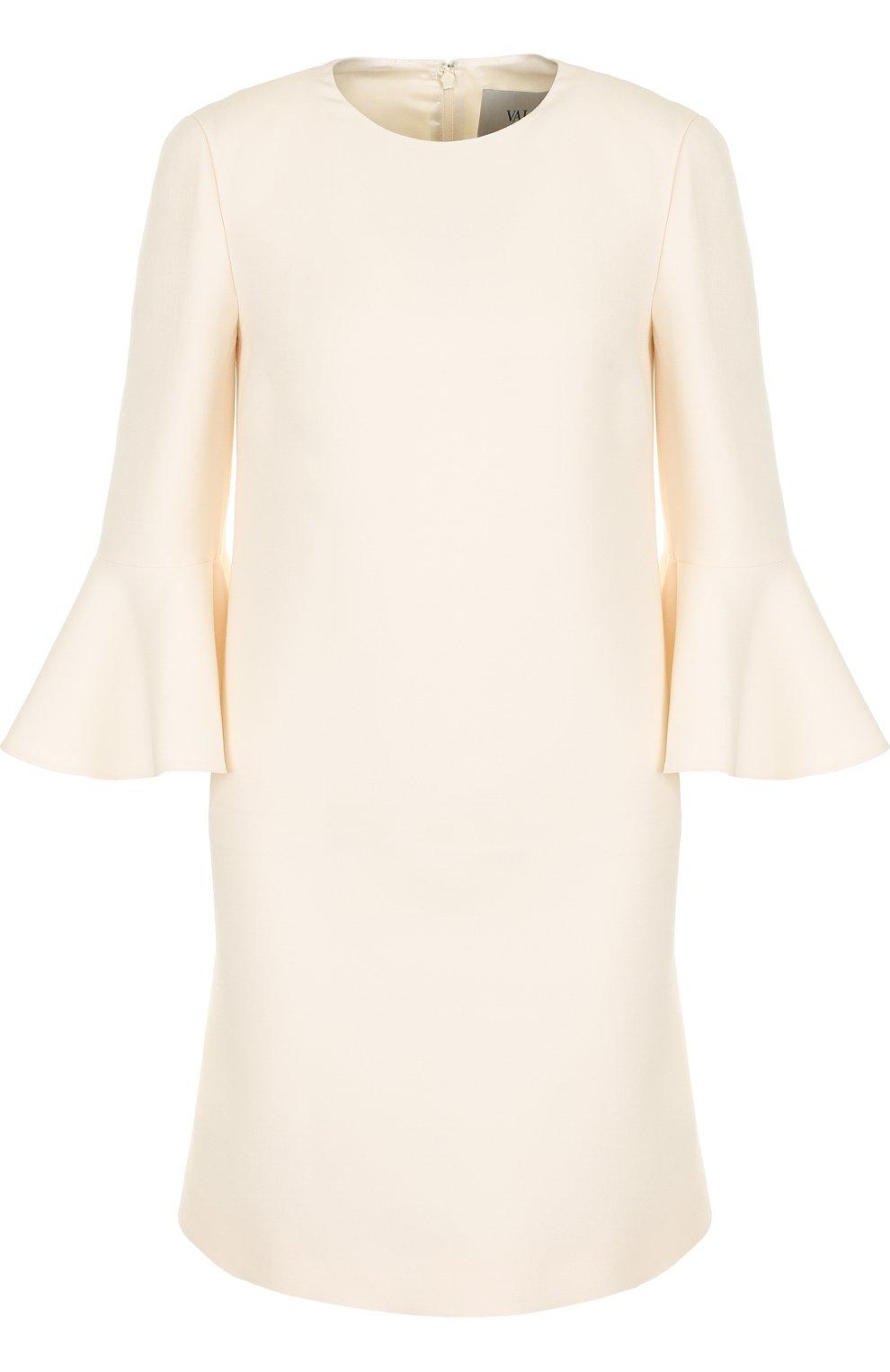 Женское мини-платье с расклешенными рукавами и круглым вырезом VALENTINO белого цвета, арт. PB3VAAY5/1CF | Фото 1