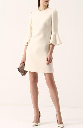 Женское мини-платье с расклешенными рукавами и круглым вырезом VALENTINO белого цвета, арт. PB3VAAY5/1CF | Фото 2