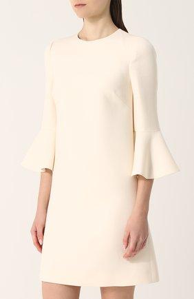 Женское мини-платье с расклешенными рукавами и круглым вырезом VALENTINO белого цвета, арт. PB3VAAY5/1CF | Фото 3