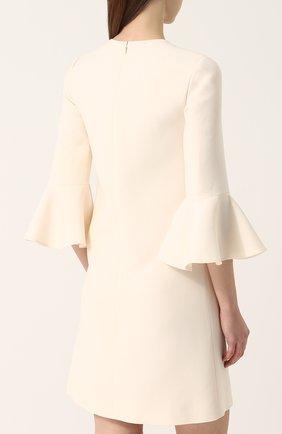 Женское мини-платье с расклешенными рукавами и круглым вырезом VALENTINO белого цвета, арт. PB3VAAY5/1CF | Фото 4
