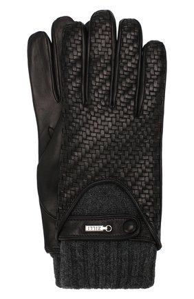 Мужские кожаные перчатки с кашемировой подкладкой и манжетами ZILLI черного цвета, арт. 616GANTM152CHE/C | Фото 1