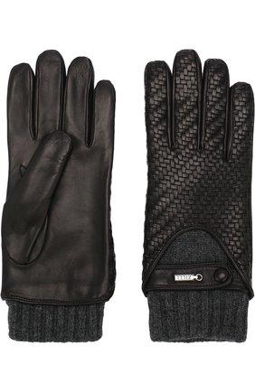 Мужские кожаные перчатки с кашемировой подкладкой и манжетами ZILLI черного цвета, арт. 616GANTM152CHE/C | Фото 2