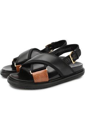 Кожаные сандалии Fussbett с контрастной отделкой | Фото №1